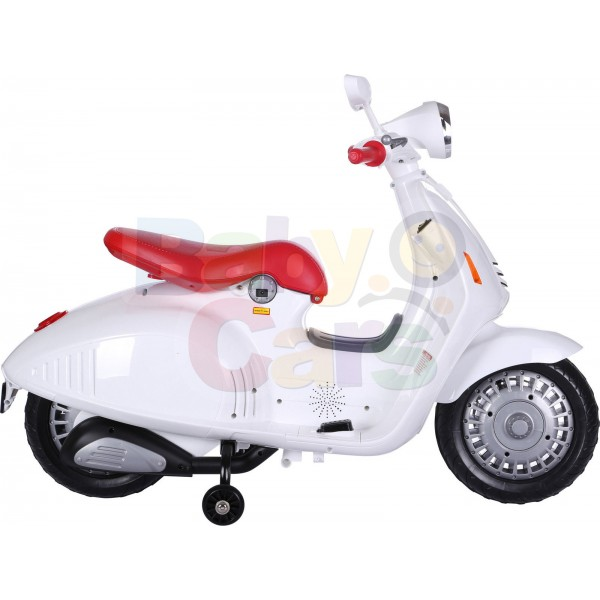 Ηλεκτρικη Μηχανη Τύπου Vespa 12V Λευκή - 99-520